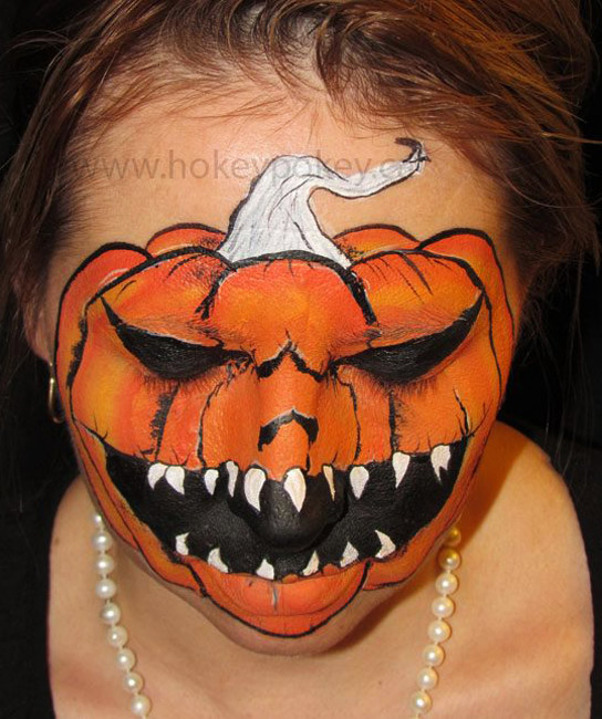 Face Painting Ideas - Scarry Pumpkin