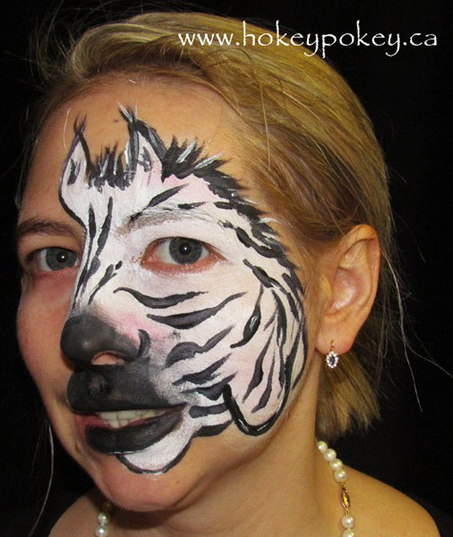 Full face paint - Zebra face paint
