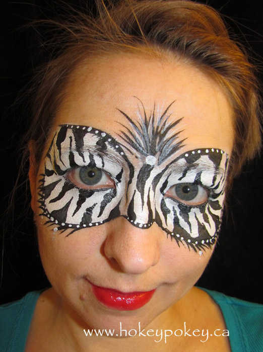 Zebra mask face paint