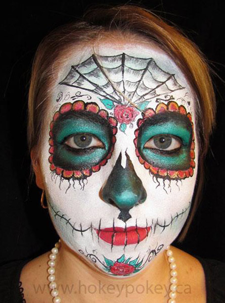 sugar skull face painting design for halloween - Halloween Skull Face Paint Ideas