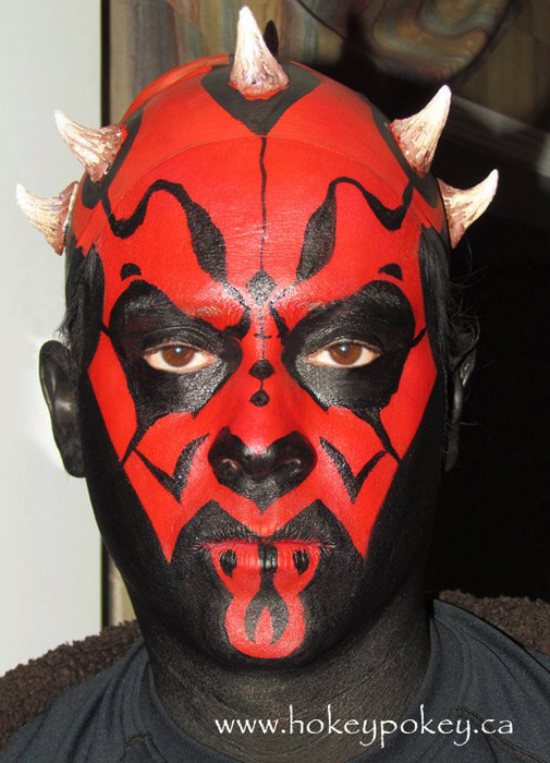 Superhero face painting idea - Darth Maul