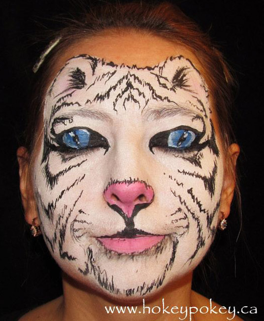 White tiger face painting idea